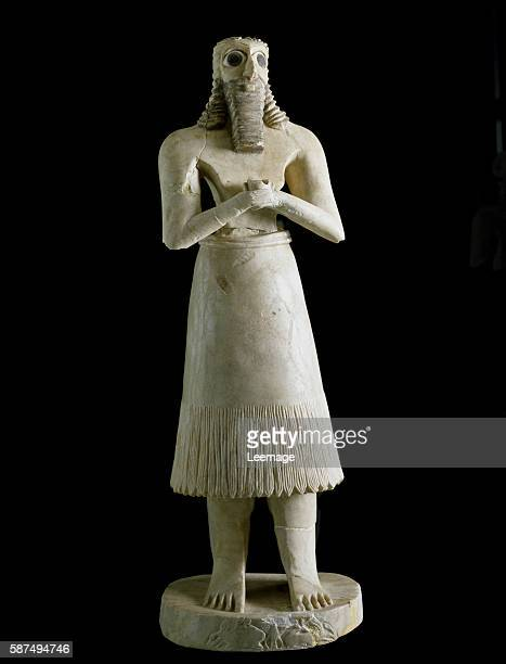figure of a bearded man Plaster bitumen and shell 3rd millennium BC From Tell Asmar 72 cm Museum of Baghdad Iraq