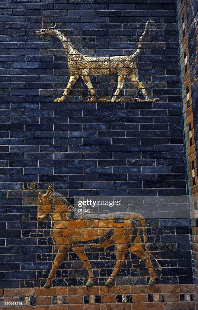 Mesopotamian art. Neo-Babylonian. Ishtar Gate. Dragon and aurochs. Pergamon Museum. Berlin. Germany. : News Photo