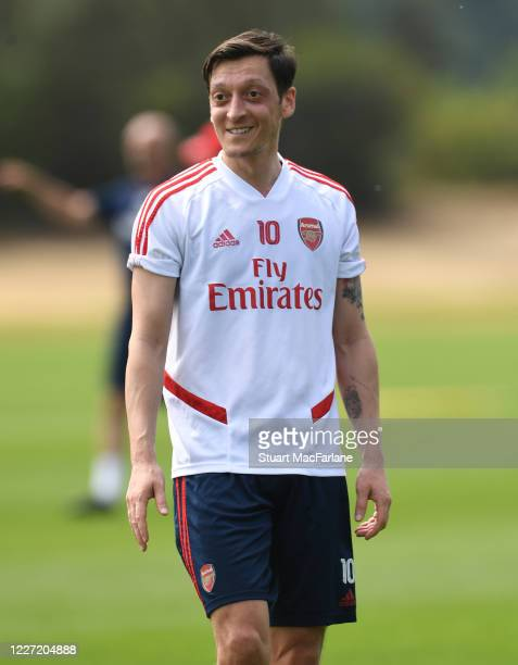 Mesot Ozil of Arsenal during a training session at London Colney on May 26 2020 in St Albans England