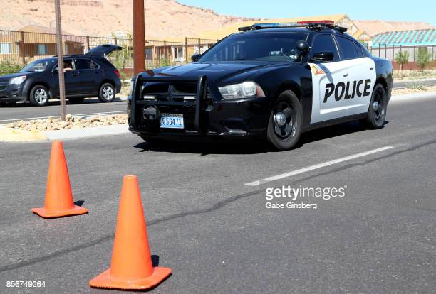 Mesquite Police Department vehicle blocks access in the Sun City Mesquite community where suspected Las Vegas gunman Stephen Paddock lived in...