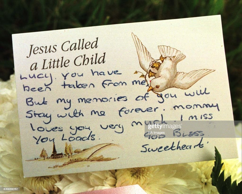 Funeral children 5 pictures getty images a message attached to a wreath from teresa carter to her daughter lucy who was kristyandbryce Images