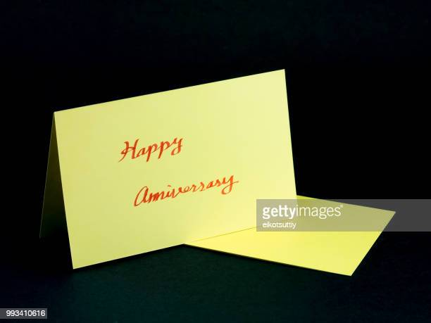 message card for your family and friends; happy anniversary - anniversary card stock pictures, royalty-free photos & images