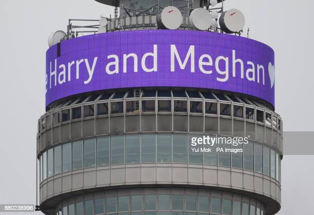 A message displayed on the BT Tower congratulating the engagement of Prince Harry and Meghan Markle in London