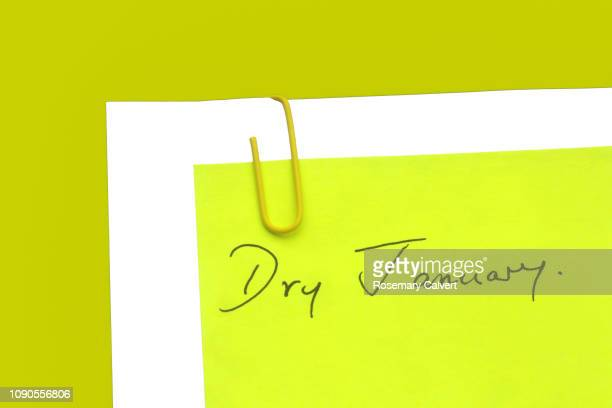 message, 'dry january' attached. - january stock pictures, royalty-free photos & images