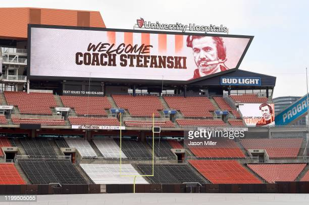 A message for Kevin Stefanski on the scoreboard at FirstEnergy Stadium on the day he is introduced as the Cleveland Browns new head coach on January...
