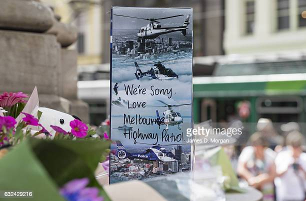 A message from the police highway patrol amongst the flowers and messages of condolence as they lie on Bourke Street Mall on January 23 2017 in...