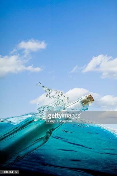 Message in a bottle in ocean