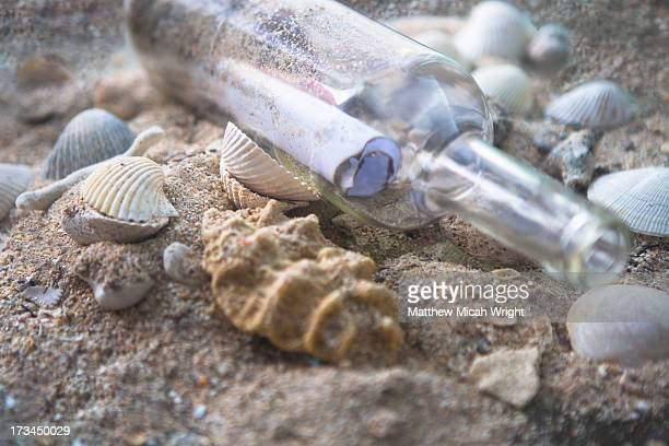 A message in a bottle washed up on shore