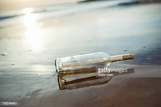 Message in bottle at seaside