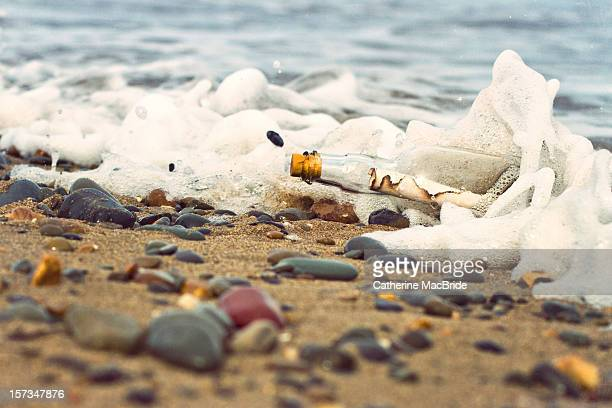 message in bottle washed up on shore - catherine macbride fotografías e imágenes de stock