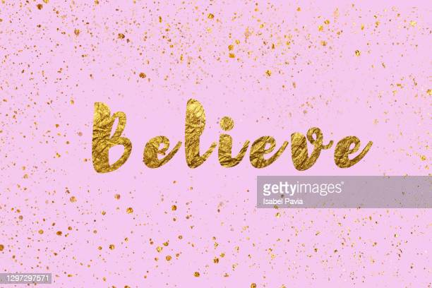 """""""believe"""" message in golden words - thanks quotes stock pictures, royalty-free photos & images"""