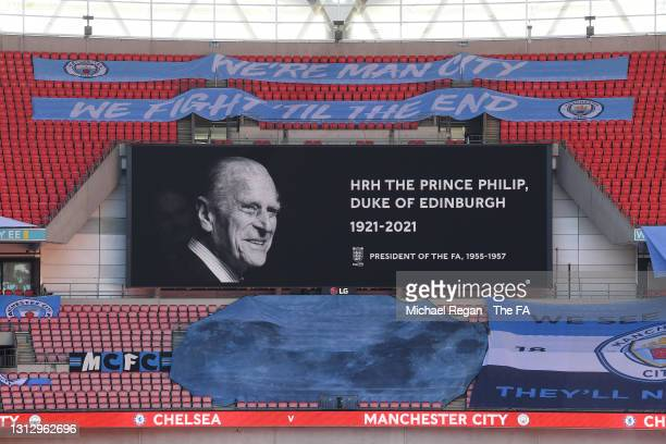 Message is displayed on the big screen inside the stadium in memory of HRH Prince Phillip, The Duke of Edinburgh who passed away recently prior to...