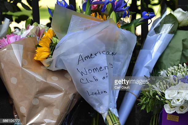 A message is left with flowers at the scene of a stabbing in which one woman was murdered on August 5 2016 in London England Darlene Horton a...