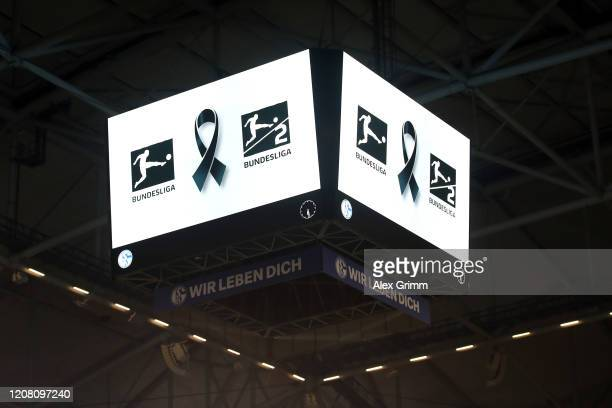 A message is shown on the video cube as players and fans commemorate the victims of the Hanau shooting during a minute of silence prior to the...