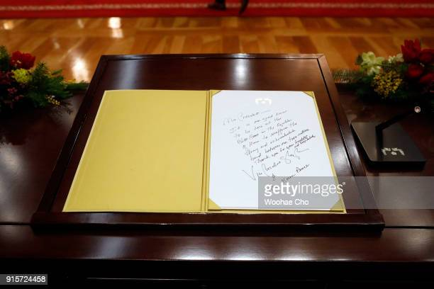 Message is written by US Vice President Mike Pence after the meeting with South Korea's President Moon Jaein at the presidential office Cheong Wa Dae...