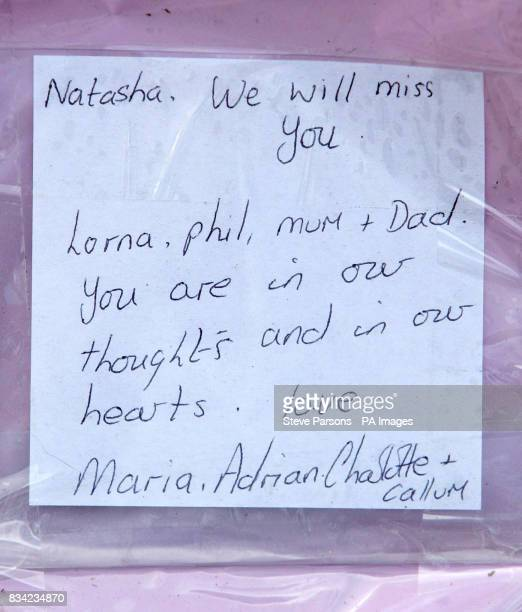 A message left with flowers at the scene of a head on car crash on the A429 between the villages of StowontheWold and MoretoninMarsh in...