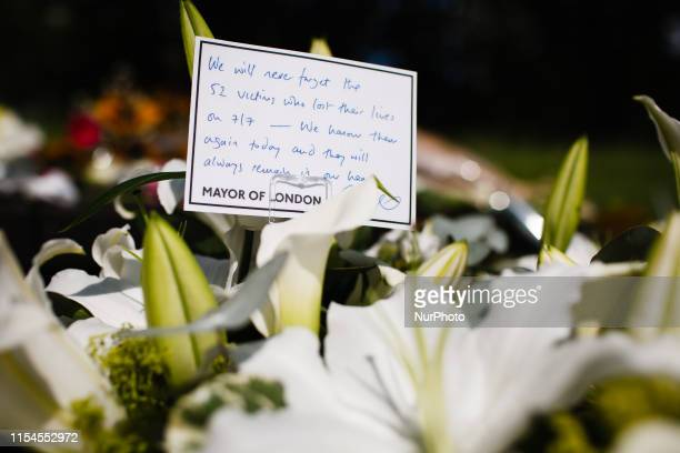 A message of condolence from Mayor of London Sadiq Khan left 14 years to the day since the 7/7 bombings rests at the 7 July Memorial in Hyde Park in...