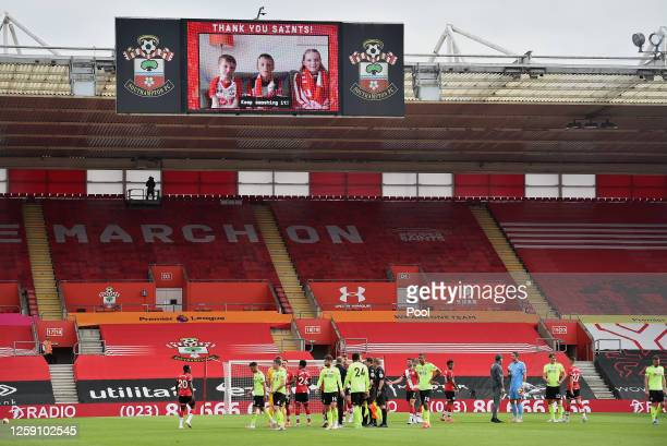 Message of support from Southampton fans appear on the big screen at the end of the Premier League match between Southampton FC and Sheffield United...