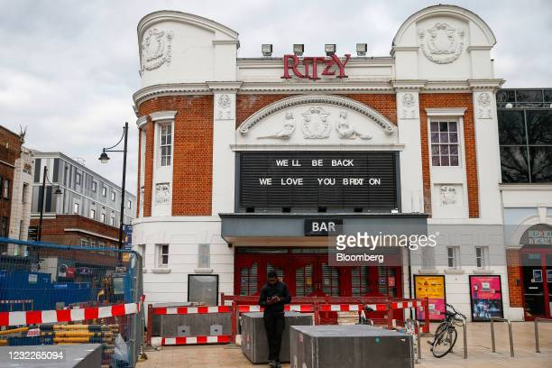 """Message on the board at the closed Ritzy Cinema and Cafe reads """"We'll be back, We love you Brixton"""" in Brixton, London, U.K., on Wednesday, April 7,..."""