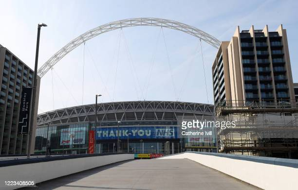 A message on Wembley Stadium saying Thank You NHS on May 07 2020 in London England The UK is continuing with quarantine measures intended to curb the...