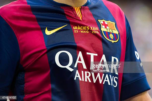 A message saying 'Thank you Xavi' is seen on the shirt of a FC Barcelona player during the La Liga match between FC Barcelona and RC Deportivo La...