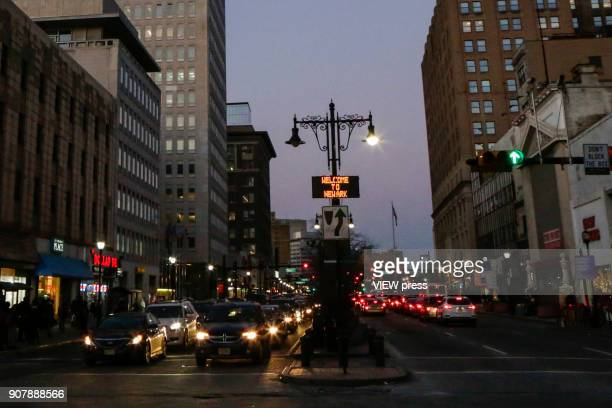 A message that reads 'Welcome to Newark' is seen on a display at downtown on January 18 2018 in Newark New Jersey Amazon has released a shortlist for...