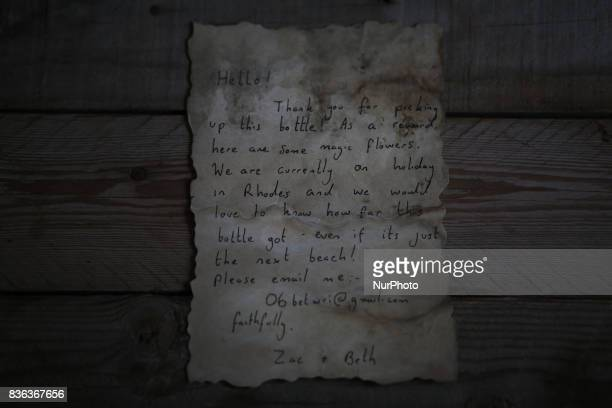 A message that was written by Bethany Wright and her boyfriend Zac Marriner and found in a bottle by Palestinian fisherman Jihad alSoltan off a Gaza...