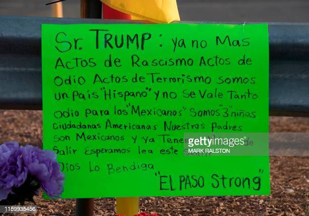 Message to President Trump left at a makeshift memorial for victims of Walmart shooting that left a total of 22 people dead at the Cielo Vista Mall...