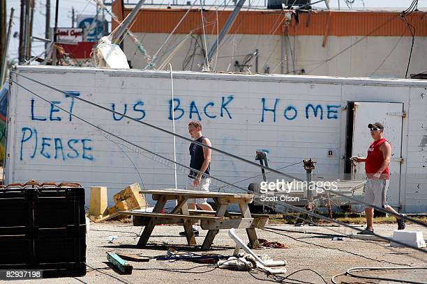 A message to the city management is painted on the side of a trailer following Hurricane Ike September 21 2008 in Galveston Texas The city announced...