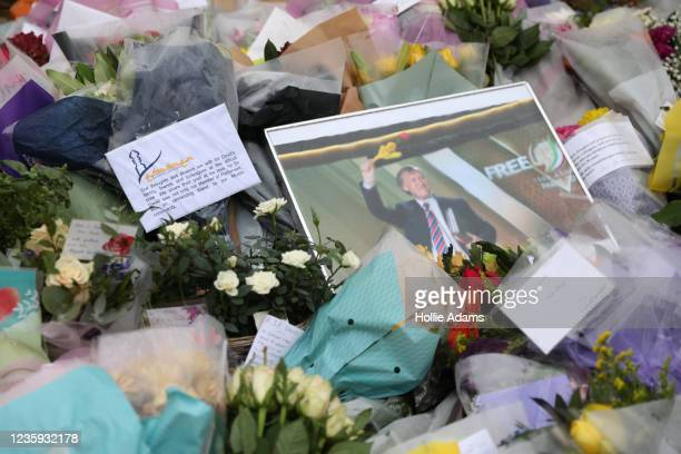 Messages amongst floral tributes laid near Belfairs Methodist Church on October 17, 2021 in Leigh-on-Sea, United Kingdom. Amess, MP for Southend...