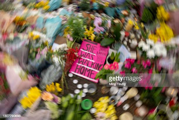 Messages and flowers left at the bandstand, Clapham Common where floral tributes have been building up over the last few days on March 15, 2021 in...