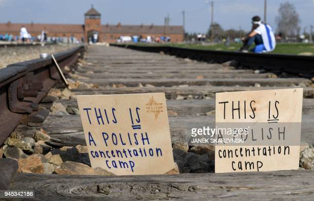Messages are left by visitors on the railway during the March of the Living a yearly Holocaust remembrance march between the former death camps of...