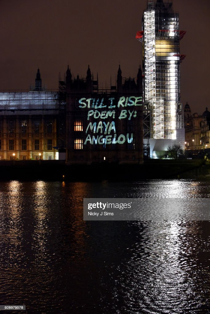 International Women's Day Messages Projected Onto UK Parliament