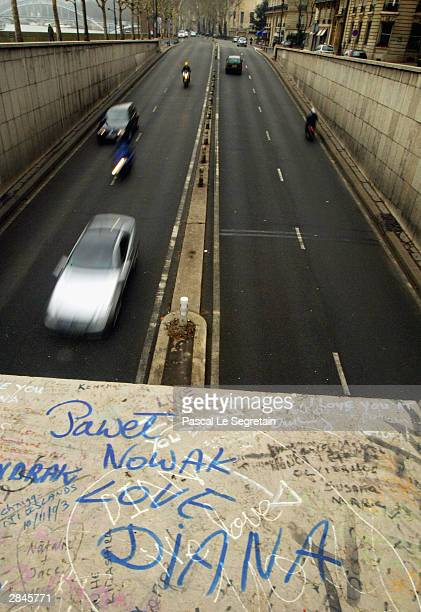 Messages are seen above the entrance to the tunnel where Diana Princess of Wales and Dodi Al Fayed died in a tragic car crash January 5 2004 in Paris...