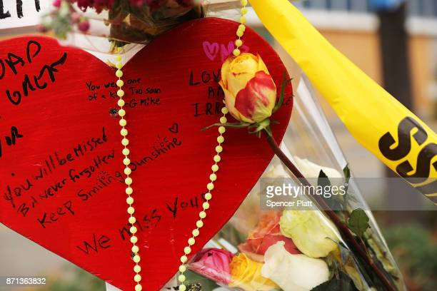 Messages are written on one of the eight crosses marking the location where terrorist Sayfullo Saipov entered a Manhattan bike path and went on a...