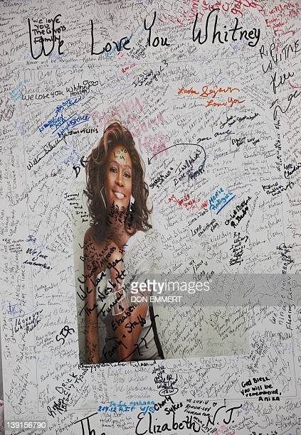 Messages left at a memorial for singer Whitney Houston set up outside New Hope Baptist Church on February 17 2012 in Newark New Jersey Funeral...
