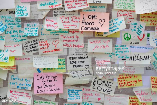 Messages left by wellwishers are pictured on London Bridge in London on June 12 following the June 3 terror attack that targeted members of the...
