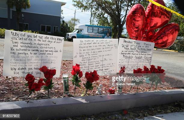 Messages left on the sidewalk of the Rehabilitation Center of Hollywood Hills nursing home a day after eight people died at the nursing home as a...