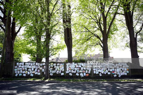 Messages of hope are seen attached to a fence on May 08 2020 in Hove United Kingdom The country continued quarantine measures intended to curb the...