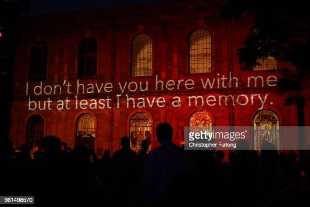 Messages of support are projected on to St Ann's Church in St Ann's Square on the first anniversary of the Manchester terrorist attack on May 22 2018...