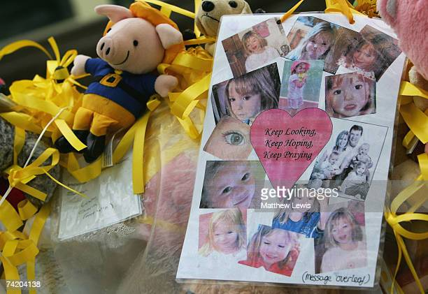 Messages of support for missing child Madeleine McCann cover the War memorial in Rothley Village Centre on May 21 2007 in Rothley England The...