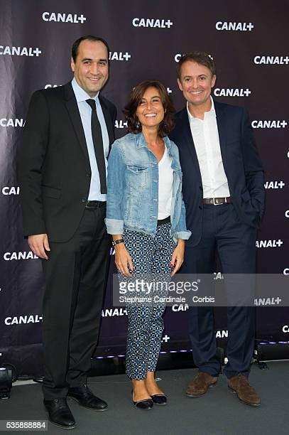 Messaoud Benterki Nathalie Iannetta and Eric Besnard attend the Canal Press Conference in Paris