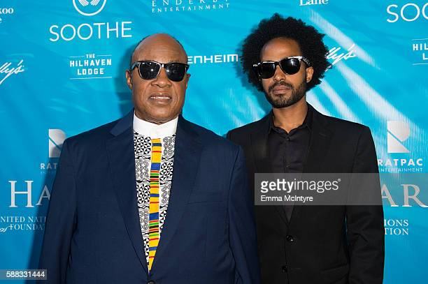 Messenger of Peace Stevie Wonder and Kwame Morris attend at RatPac Entertainment Hosts Special Event for UN SecretaryGeneral Ban Kimoon at Hillhaven...