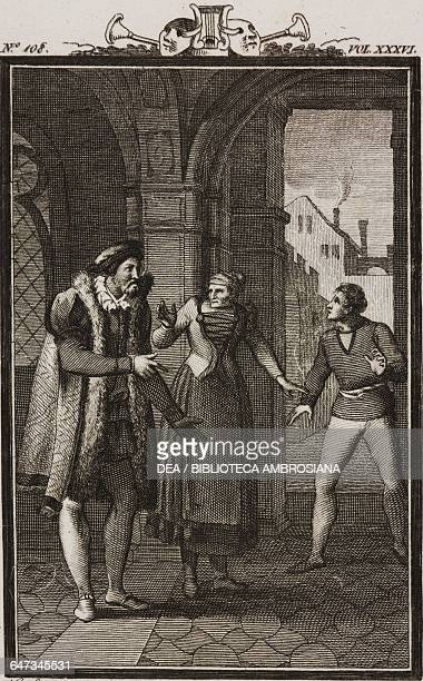 Messer Luca the nurse and Panfilo engraving by Antonio Viviani from a drawing by G Steneri from The Pupil Act V Scene 5 Comedies Volume 36 by Carlo...