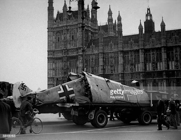 Messerschmitt aeroplane is paraded outside the Houses of Parliament London after being shot down by Spitfire pilots