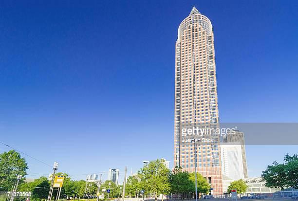 messeturm (messetower) frankfurt - frankfurt main tower stock pictures, royalty-free photos & images
