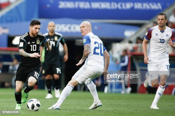 Messi and HALLFREDSSON during match between Argentina and Iceland valid for the first round of group D of the 2018 World Cup held at the Spartak...