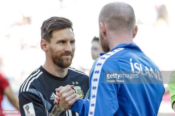 Messi before the game between Argentina and Iceland valid for the first round of group D of the 2018 World Cup held at the Spartak stadium in Moscow...