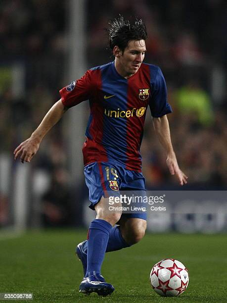 Messi during the 20062007 UEFA Champions League match between FC Barcelona and Liverpool