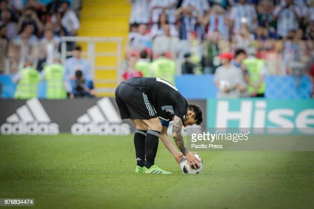 Messi misses a penalty during match between Argentina and Iceland valid for the first round of group D of the 2018 World Cup held at the Spartak...